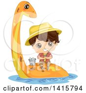 Clipart Of A Brunette Caucasian Boy Fishing On The Back Of A Pliosaur Dinosaur Royalty Free Vector Illustration