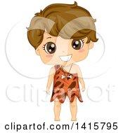 Clipart Of A Boy Caveman Royalty Free Vector Illustration by BNP Design Studio