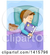 Clipart Of A Brunette Caucasian Boy Sleeping With A Book And Teddy Bear Royalty Free Vector Illustration