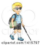 Blond Caucasian Blind School Boy Walking With A Cane