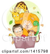 Clipart Of A Happy Boy Reading A Story Book With Animals Huddled Around Him Royalty Free Vector Illustration