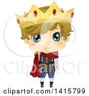 Clipart Of A Dirty Blond Blue Eyed Caucasian Boy Prince Royalty Free Vector Illustration