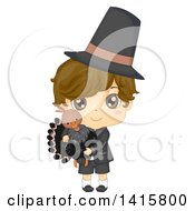 Clipart Of A Thanksgiving Pilgrim Boy Holding A Turkey Royalty Free Vector Illustration by BNP Design Studio