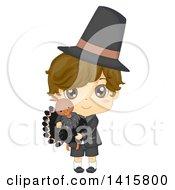 Thanksgiving Pilgrim Boy Holding A Turkey