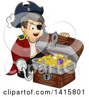 Clipart Of A Pirate Boy With A Hook Hand Opening A Treasure Chest Royalty Free Vector Illustration