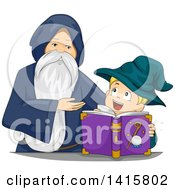 Clipart Of A Senior Wizard Teaching A Boy Magic Royalty Free Vector Illustration by BNP Design Studio