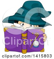 Clipart Of A Wizard Boy Reading A Spell Book Royalty Free Vector Illustration
