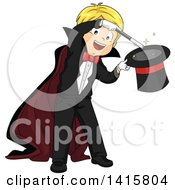 Clipart Of A Blond Caucasian Magician Boy Performing A Hat Trick Royalty Free Vector Illustration