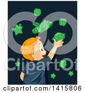 Clipart Of A Red Haired Cacuasian Boy Applying Glow In The Dark Space Stickers On His Wall Royalty Free Vector Illustration by BNP Design Studio