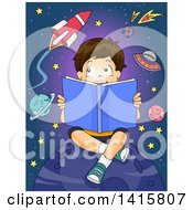 Clipart Of A Brunette Caucasian Boy Reading A Book About Astronomy Royalty Free Vector Illustration