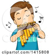 Clipart Of A Brunette White Boy Playing A Pan Flute Royalty Free Vector Illustration