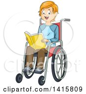 Clipart Of A Red Haired White Boy Sitting In A Wheelchair And Reading A Book Royalty Free Vector Illustration by BNP Design Studio