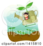 Clipart Of A Boy Waving And Flying A Watering Can Helicopter Over A Garden Royalty Free Vector Illustration