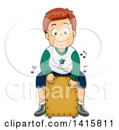 Clipart Of A White Boy Playing A Cajon Drum Royalty Free Vector Illustration