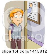 Clipart Of A Red Haired White School Boy Waiting Outside A Classroom Being Punished For Being Late Royalty Free Vector Illustration