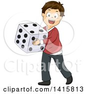 Brunette White Boy Carrying A Giant Die