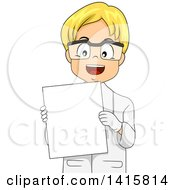 Clipart Of A Blond White Boy In A Lab Coat Holding A Blank Board Royalty Free Vector Illustration