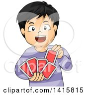 Clipart Of A Happy Asian Boy Playing With Cards Royalty Free Vector Illustration