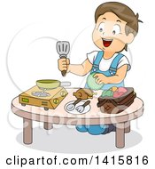 Clipart Of A Brunette White Boy Playing With Toy Kitchen Items Royalty Free Vector Illustration