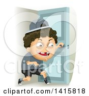 Clipart Of A Mischievous White Boy Sneaking Out Royalty Free Vector Illustration