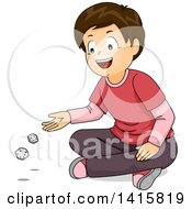 Brunette White Boy Sitting On The Ground And Tossing Dice