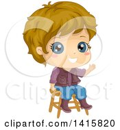 Clipart Of A Dirty Blond White Boy Sitting On A Stool And Waving Royalty Free Vector Illustration