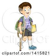 Brunette White School Boy Walking With A Crutch