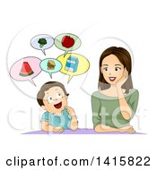 Clipart Of A Brunette Caucasian Mother And Son Talking About Healthy Food Royalty Free Vector Illustration