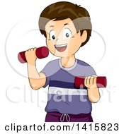 Clipart Of A Brunette White Boy Working Out With Dumbbells Royalty Free Vector Illustration by BNP Design Studio