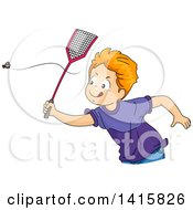 Clipart Of A Red Haired Caucasian Boy Chasing A Fly With A Swatter Royalty Free Vector Illustration