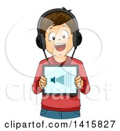 Clipart Of A Brunette Caucasian Boy Increasing The Volume On A Tablet Royalty Free Vector Illustration