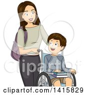 Clipart Of A Brunette Caucasian Mother Pushing Her Disabled Son In A Wheelchair Royalty Free Vector Illustration