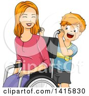 Clipart Of A Red Haired Caucasian Son Helping His Mom In A Wheelchair Royalty Free Vector Illustration