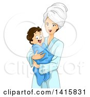Caucasian Mother And Son Wrapped In A Robe And Towel After A Bath