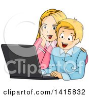 Clipart Of A Happy Caucasian Mother And Son Using A Laptop Computer Royalty Free Vector Illustration