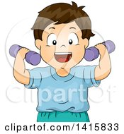 Clipart Of A Brunette White Boy Exercising With Dumbbells Royalty Free Vector Illustration by BNP Design Studio