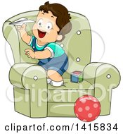 Poster, Art Print Of Brunette White Toddler Boy On A Chair Playing With A Paper Plane