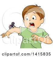 Clipart Of A Brunette White Boy Screaming About A Spider On His Arm Royalty Free Vector Illustration