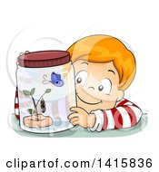 Clipart Of A Red Haired White Boy Watching A Butterfly In Its Different Stages Royalty Free Vector Illustration by BNP Design Studio