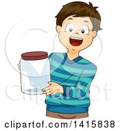 Clipart Of A Brunette White Boy Holding A Jar For A Science Project Royalty Free Vector Illustration
