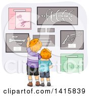 Clipart Of A Rear View Of Red Haired Caucasian Brothers Looking At Dinosaur Bones In A Museum Royalty Free Vector Illustration