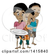 Clipart Of Malnourished Boys In Line For Food Royalty Free Vector Illustration
