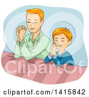 Clipart Of A Red Haired Caucasian Father And Son Praying Together Royalty Free Vector Illustration