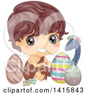 Clipart Of A Caveman Boy Painting Dinosaur Eggs For Easter Royalty Free Vector Illustration