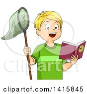 Clipart Of A Blond Caucasian Boy Reading A Book About How To Catch Butterflies Royalty Free Vector Illustration