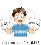 Clipart Of A Brunette Caucasian School Boy Holding Dos And Donts Signs Royalty Free Vector Illustration