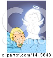 Clipart Of A Blond Caucasian Boy Sleeping A Guardian Angel Watching Over Him Royalty Free Vector Illustration by BNP Design Studio