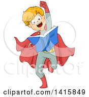 Clipart Of A Boy Wearing A Super Hero Costume Pretending To Fly And Reading A Book Royalty Free Vector Illustration
