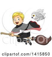 Clipart Of A Wizard Boy Flying On A Broomstick With His Owl Familiar Royalty Free Vector Illustration