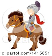 Clipart Of A Knight Boy Riding Horseback Royalty Free Vector Illustration